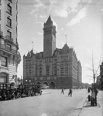 Pennsylvania Avenue National Historic Site - Looking south down 12th Street NW in 1911 at the Post Office Building, built to spur economic development in the area.