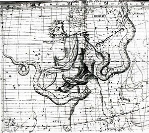 Ophiuchus (astrology) - 18th century star map illustrating how the feet of Ophiuchus cross the ecliptic