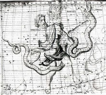 18th c. star map illustrating how the feet of Ophiuchus cross the ecliptic. Ophiuchus.jpg