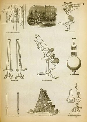 Optical instrument - An illustration of some of the optical devices available for laboratory work in England in 1858.