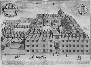 1675 copper engraving of the College, looking east across the front entrance and First quad; on the left is the tiered garden where Second quad would be built.