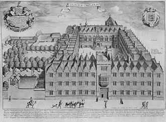Oriel College, Oxford - 1675 copper engraving of the College, looking east across the front entrance and First quad; on the left is the tiered garden where the Second quad would be built.