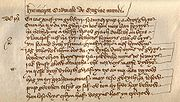 Opening verses of Mediaeval Cornish manuscript, of the Origo Mundi