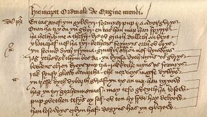 Cornish literature - The opening verses of Origo Mundi, the first play of the Ordinalia (the magnum opus of mediaeval Cornish literature), written by an unknown monk in the late 14th century