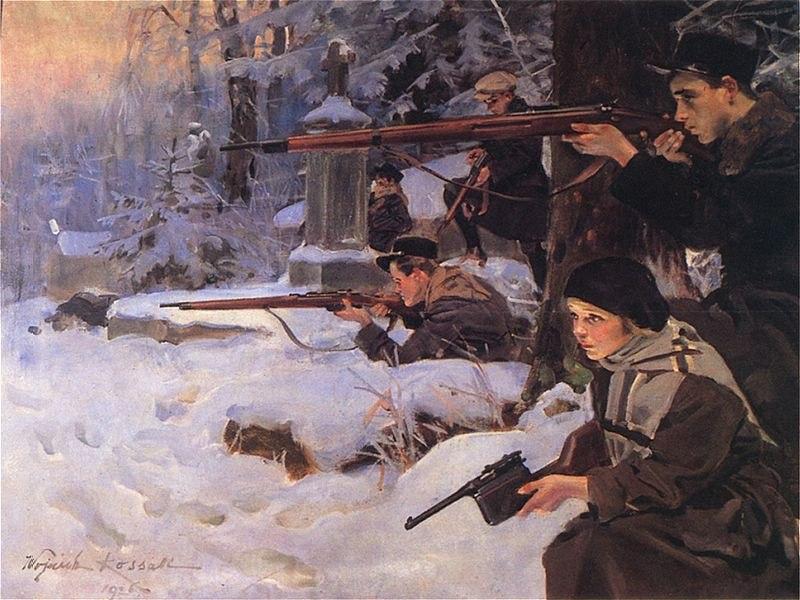 Orleta Eaglets defending the %C5%81yczak%C3%B3w Cemetery during the Siege of Lw%C3%B3w