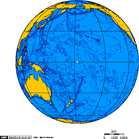 Orthographic projection over Baker Island