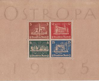 Postage stamp gum - Mint Ostropa commemorative sheet, paper discoloured by the acidic stamp gum, paper beginning to disintegrate at the watermarks