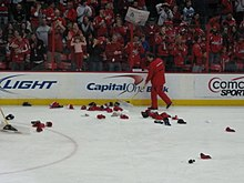 Hats on the Verizon Center ice after Alex Ovechkin s hat trick d5bb2cbac7e