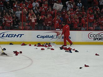 Hat-trick - Hats on the Verizon Center ice after Alex Ovechkin's hat trick, 7 February 2010