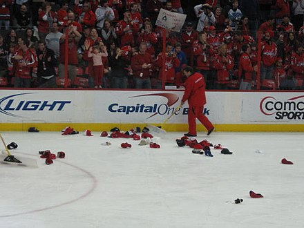 Hats on the Verizon Center ice after Alex Ovechkin's hat trick, 7 February 2010 Ovechkin hat-trick (February 7, 2010).jpg
