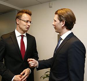Péter Szijjártó - Szijjártó with Austrian Foreign Minister Sebastian Kurz in 2015