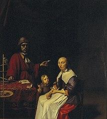 Hugo 's Gravesande (1633-1699), zijn echtgenote Mechteld van Bleyswijk (1638-1665) en hun zoon Adriaen (1658-1683) in een interieur