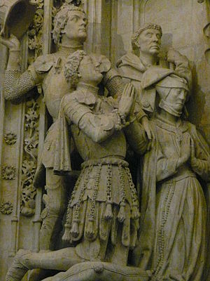 Engelbert I of Nassau - Engelbert (kneeling) in Graf monument in the Grote Kerk in Breda