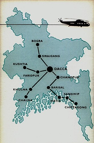East Pakistan Helicopter Service - Route map