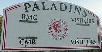 Official bilingualism in Canada - Royal Military College Paladins Bilingual (English/French) Scoreboard, inner field, Royal Military College of Canada.