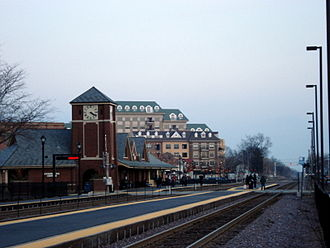 Palatine, Illinois - The Palatine Metra station is visible looking southeast along the Union Pacific Northwest Line.