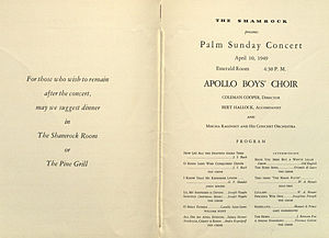 Boys' choir - Image: Palm Sunday Concert program (inside)