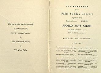Boys' choir - Image: Palm Sunday Concert program (inside)