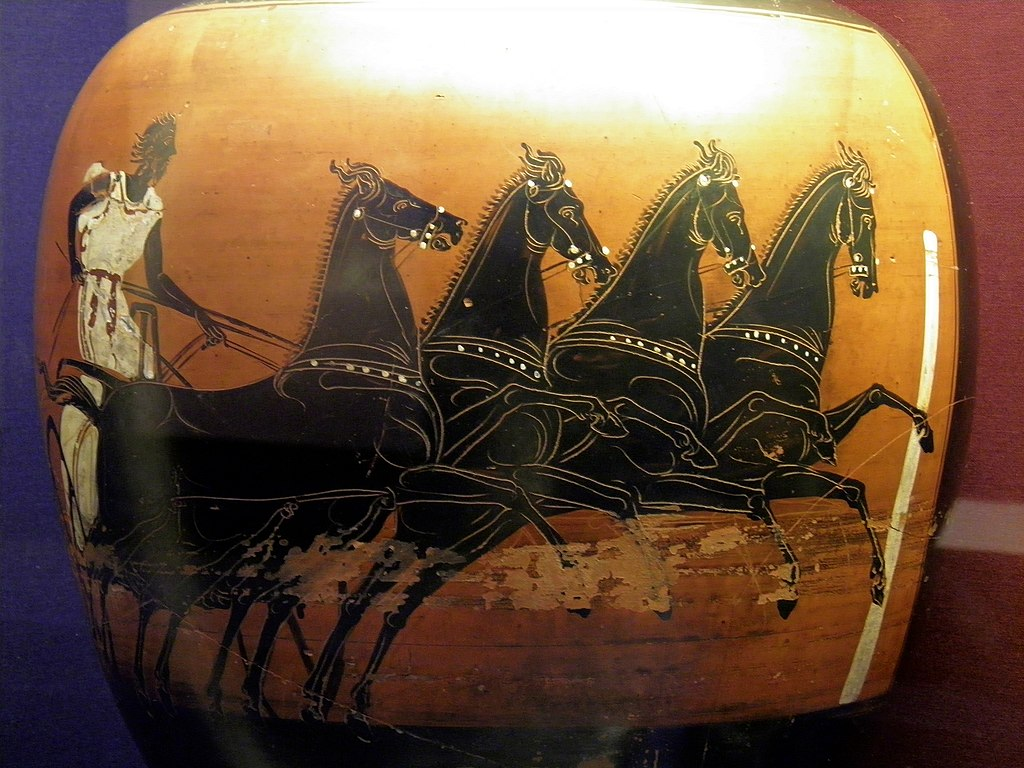 File Panathenaic Prize Amphora Of A Chariot Race Made In Athens About 410 400 Bc Found At