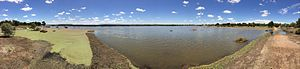 Fivebough and Tuckerbil Wetlands - Panorama from Wetlands Walk at Fivebough Wetlands, which is still underwater after the wet Winter and Spring in 2016