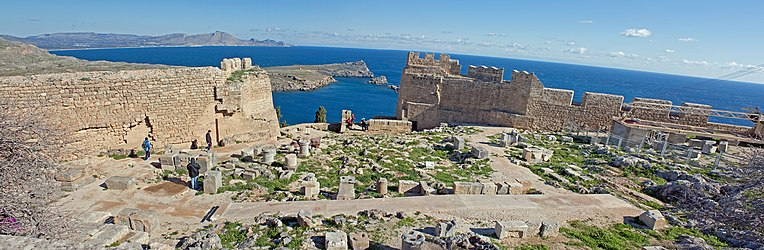 Panoramic of northeastern acropolis of Lindos 2010.jpg