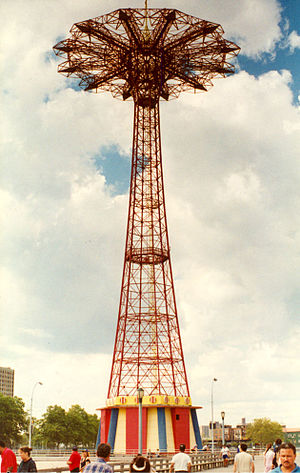 Steeplechase Park - The Parachute Jump, acquired by Steeplechase from the 1939 New York World's Fair, still stands today.