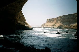 Paracas National Reserve - A November 2000 view from within what used to be the Cathedral cave, which was destroyed in earthquake of 2007