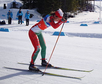 Paralympic cross-country skiing - Larysa Varona of Belarus competing at the 2010 Winter Paralympics.