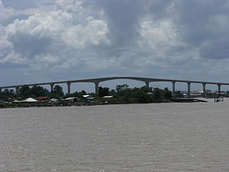 Transport in Suriname - The Jules Wijdenbosch Bridge over the Suriname River near Paramaribo.