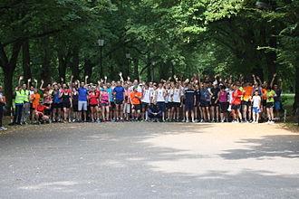 Parkrun - Participants lining up to start at parkrun Łódź