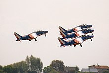 Patrouille de France, after take-off, Radom AirShow 2005, Poland.jpg