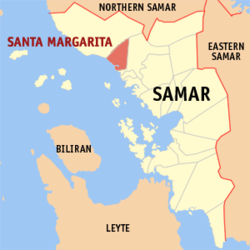 Map of Samar with Sta. Margarita highlighted