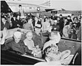 Photograph of President Truman and Indian Prime Minister Jawaharlal Nehru, with Nehru's sister, Madame Pandit, waving... - NARA - 200154.jpg