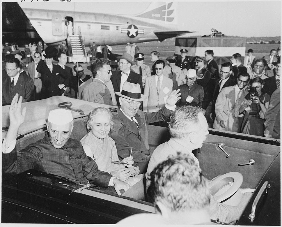 Photograph of President Truman and Indian Prime Minister Jawaharlal Nehru, with Nehru%27s sister, Madame Pandit, waving... - NARA - 200154