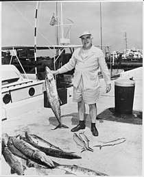 Photograph of White House aide Philleo Nash with a fish he caught during President Truman's vacation at Key West... - NARA - 200538.jpg