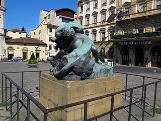 Statue of Hercules strangling the Nemean Lion, Piazza Ognissanti