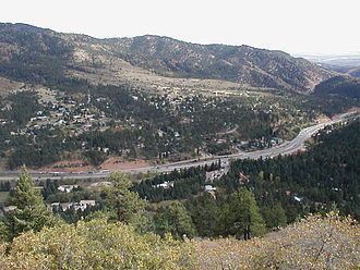 U.S. Route 24 - U.S. Route 24 looking out on Cascade, Colorado, viewed from the Pikes Peak Highway