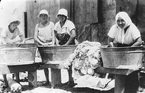 Binyamina-Giv'at Ada - Pioneer women doing laundry in Binyamina, 1930