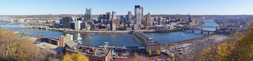 a panorama of downtown Pittsburgh taken from Mount Washington at in the morning.