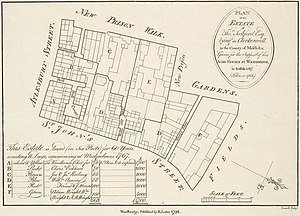 New Prison - 1764 plan of the estate of Thos Seckford, in Clerkenwell, showing the site of the New Prison