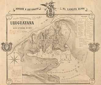 Siege of Uruguaiana - Image: Plano topográfico de la villa Uruguayana con las posiciones de los ejercitos aliados en el dia 18 de Setiembre de 1865 (Cartográfico) — levantado por el ingeniero F. A. Grivot