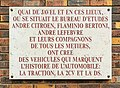 Plaque indiquant l'ancien emplacement du bureau d'études de Citroën où furent conçues des voitures mythiques, rue du Théâtre (Paris).jpg