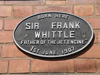 Earlsdon - The commemorative plaque on the house where Whittle was born and grew up.