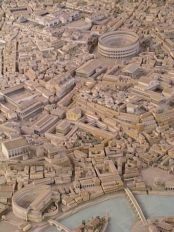 المنتدى الروماني على اليمين وفي الخلفية الكولوسيوم، بانخفاض جزيرة التيبر،  من الديوراما في متحف
