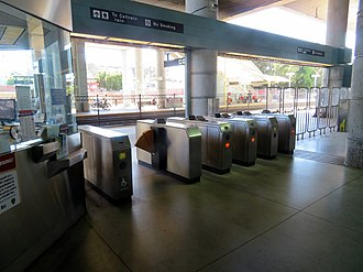 Millbrae station - BART faregates which exit directly onto the northbound Caltrain platform