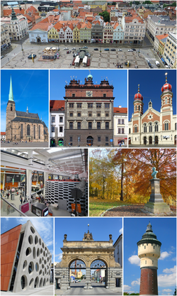 From top: Republic Square, Cathedral of St. Bartholomew, Renaissance City hall, Great Synagogue, Techmania Science Center, Lochotín park, New Theatre, Prazdroj brewery gate, brewery water tower.