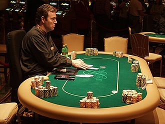 Poker table - Poker table at the 2004 World Poker Tour at the Bellagio hotel and casino in Las Vegas.