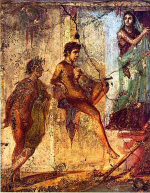 Tragedy - Scene from the tragedy Iphigenia in Tauris by Euripides. Roman fresco in Pompeii.