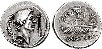 Roman navy - Silver denarius struck by Sextus Pompeius in 44–43 BC, featuring a bust of Pompey the Great and a Roman warship.
