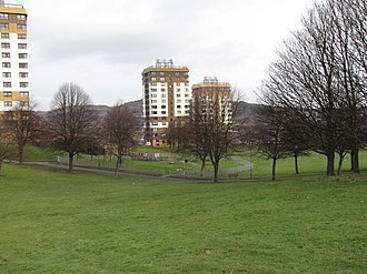 Ponderosa (Sheffield) - The lower part of the Ponderosa and the Martin St tower blocks.